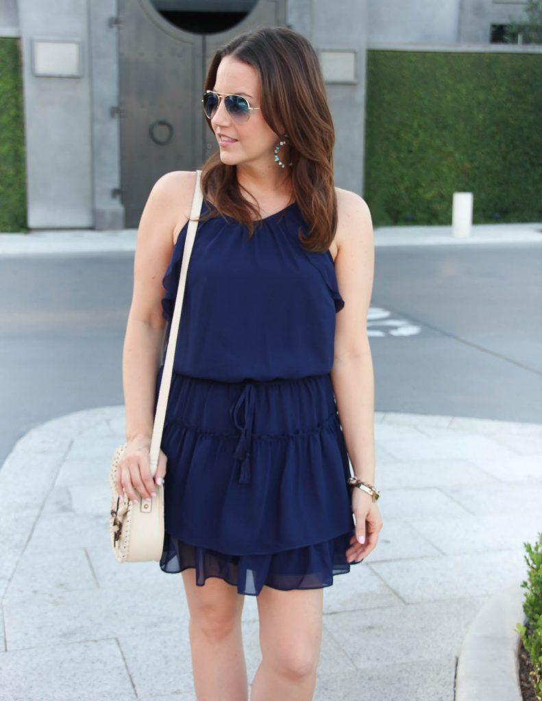 Summer Dress | Ivory Crossbody Bag | Blue Gradient Aviators | Lady in Violet | Houston Fashion Blogger