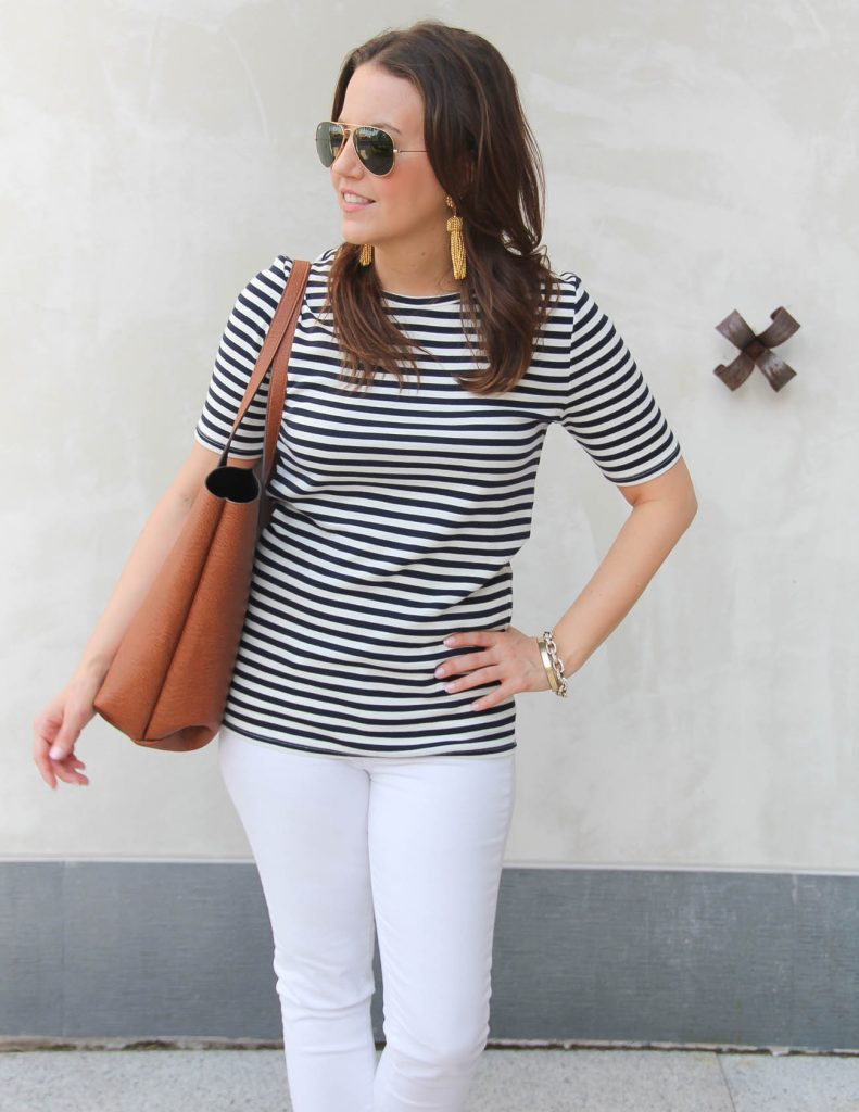 Summer Outfit | Navy Striped Tee | Lisi Lerch Gold Tassel Earrings | Lady in Violet | Houston Fashion Blogger