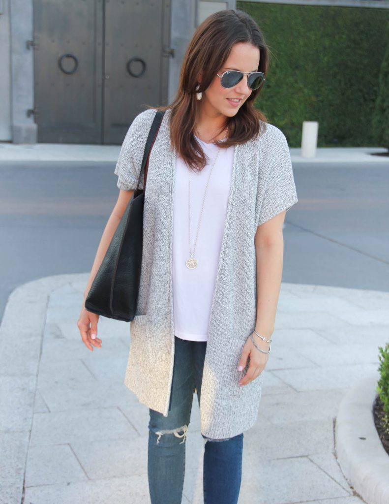 Summer Outfit | Short Sleeve Cardigan | White Tee with Jeans | Lady in Violet | Houston Fashion Blogger