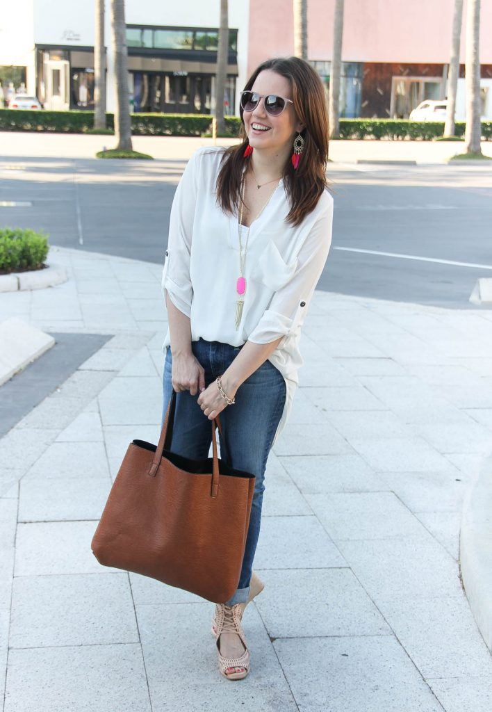 Summer Wardrobe Staples | White Blouse | Skinny Jeans | Brown Tote Bag | Lady in Violet | Houston Style Blogger