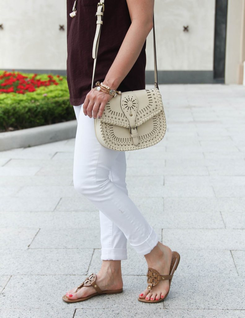 Casual Summer Outfit | White Jeans | Brown Tee | Sole Society Crossbody Bag | Lady in Violet | Houston Style Blogger