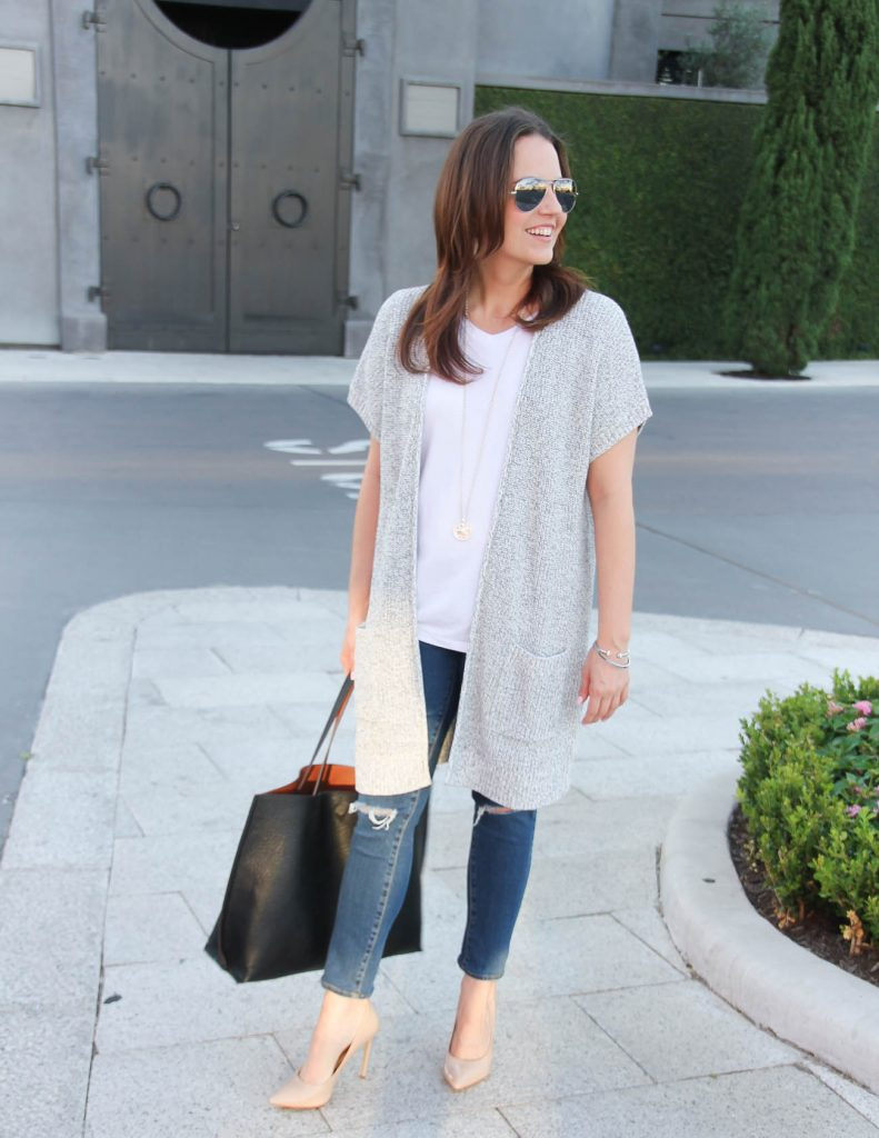 Casual Weekend Outfit | Long Gray Duster | White Tshirt | Lady in Violet | Houston Fashion Blogger