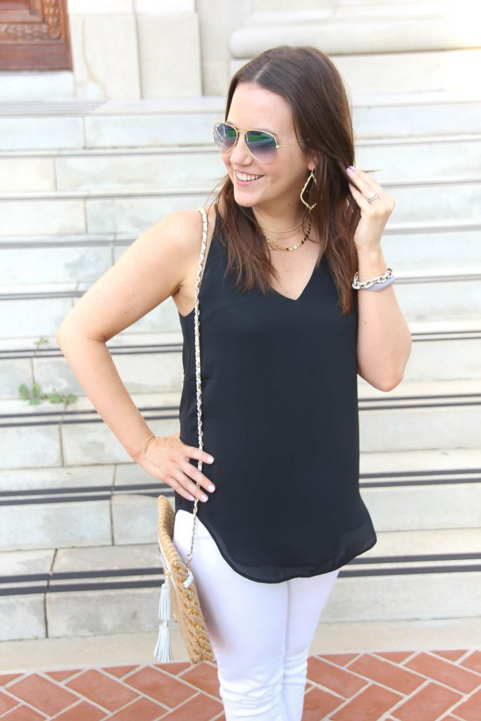 Loft Black Strappy Cami | Summer Outfit Idea | Lady in Violet | Houston Style Blogger