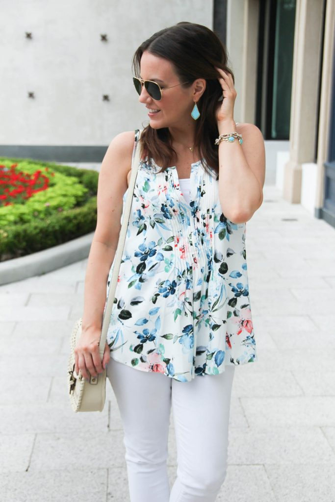 Spring Outfit | Pretty Blue Floral Print Blouse | Turquoise Earrings | Lady in Violet | Houston Style Blogger