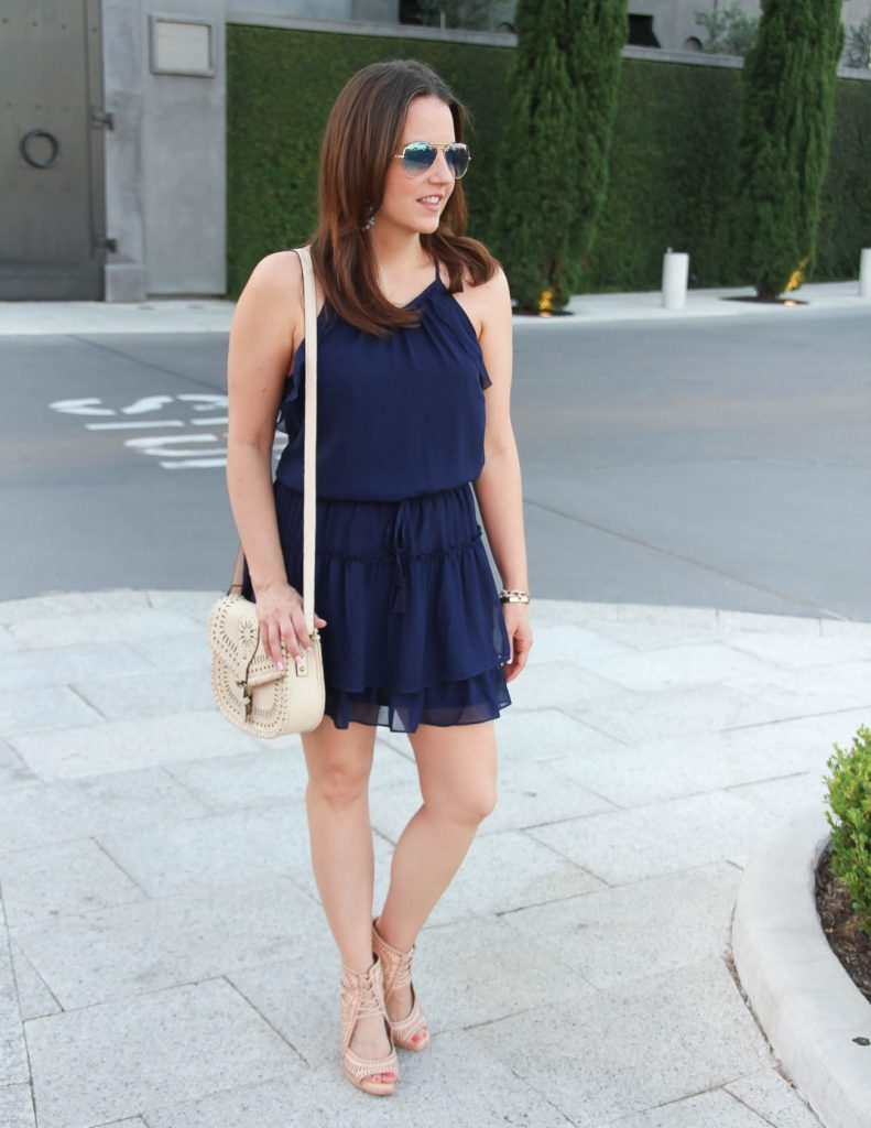 Summer Outfit | Navy Dress | Nude Wedges | Lady in Violet | Houston Style Blogger