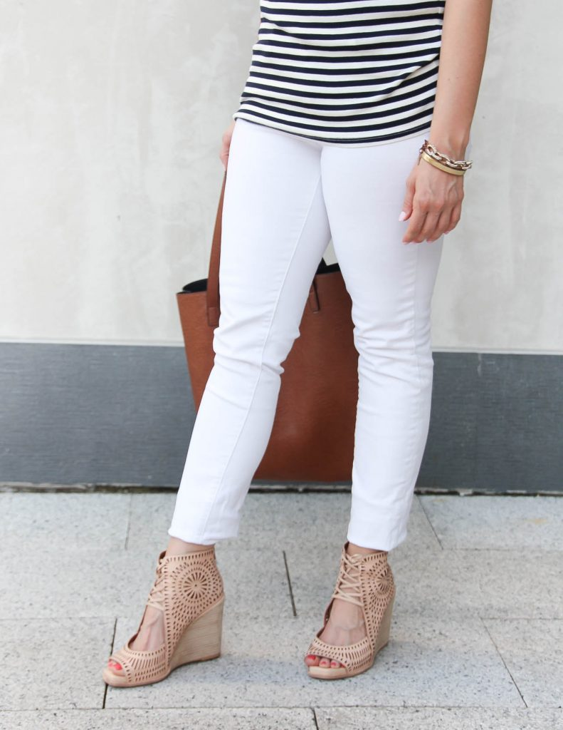 Summer Outfit | White Jeans | Nude Wedges | Lady in Violet | Houston Style Blogger