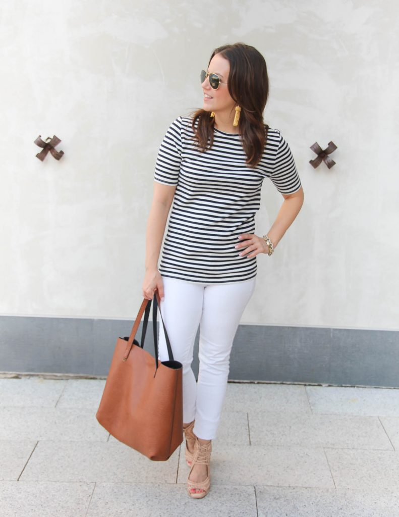 What to wear to a 4th of July Party | Navy striped tee | white jeans | Lady in Violet | Houston Fashion Blogger