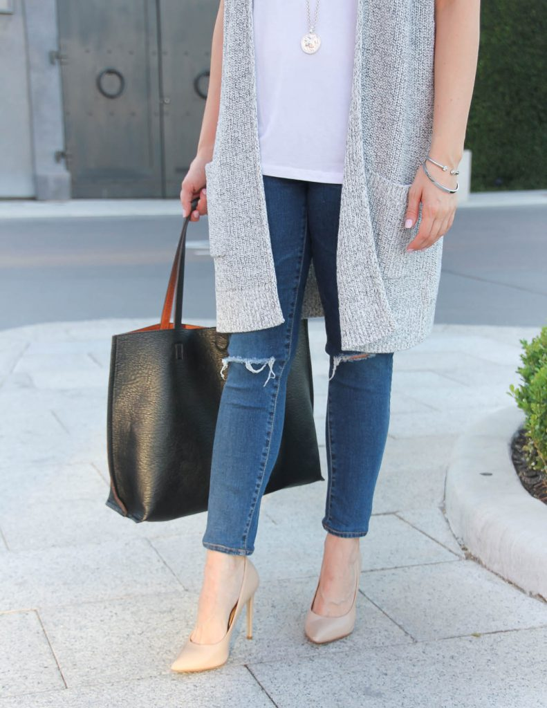Distressed Jeans | Nude Heels | Long Cardigan | Lady in Violet | Houston Style Blogger