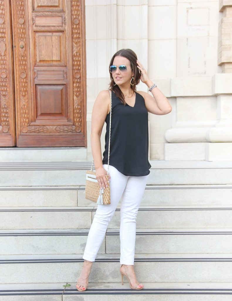 summer date night outfit | black cami | white jeans | Lady in Violet | Houston Fashion Blogger