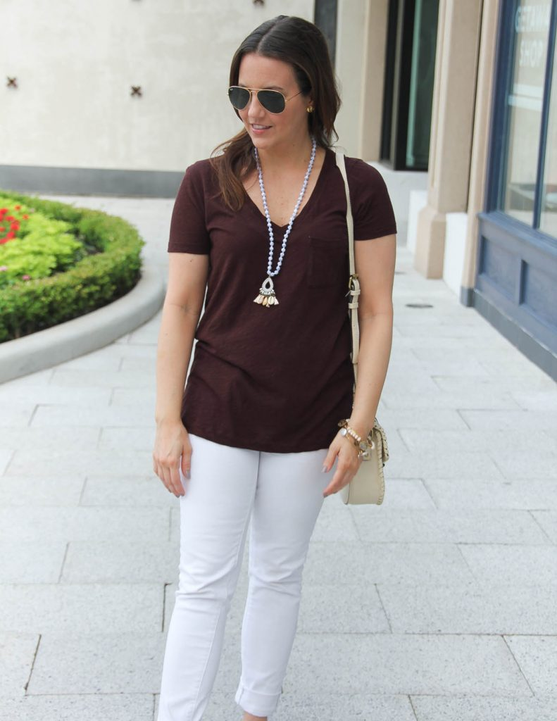 Summer Outfit Basics | Tshirt with Jeans | Shell necklace | Lady in Violet | Houston Fashion Blogger