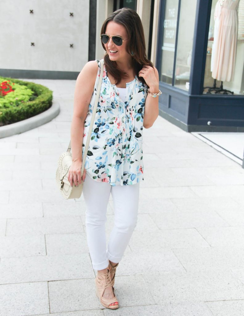 Spring Outfit | Floral Blouse | White Jeans | Lady in Violet | Houston Fashion Blogger