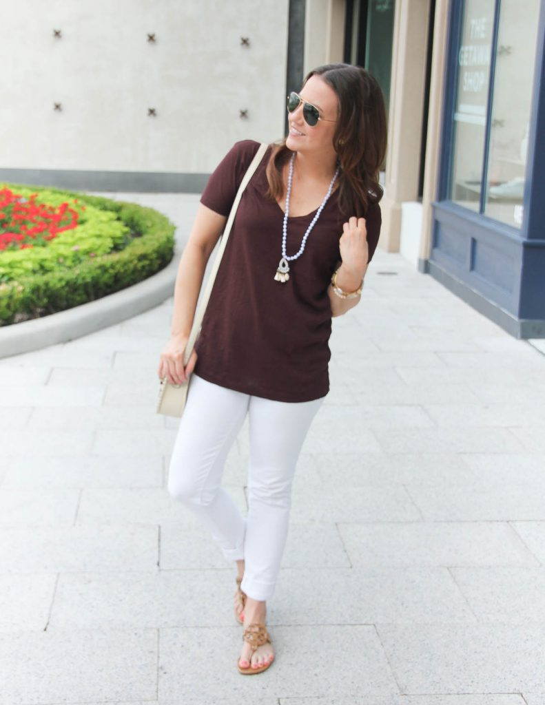 Summer Vacation Outfit | Vneck Tee | White Jeans | Miller sandals | Lady in Violet | Houston Style Blogger