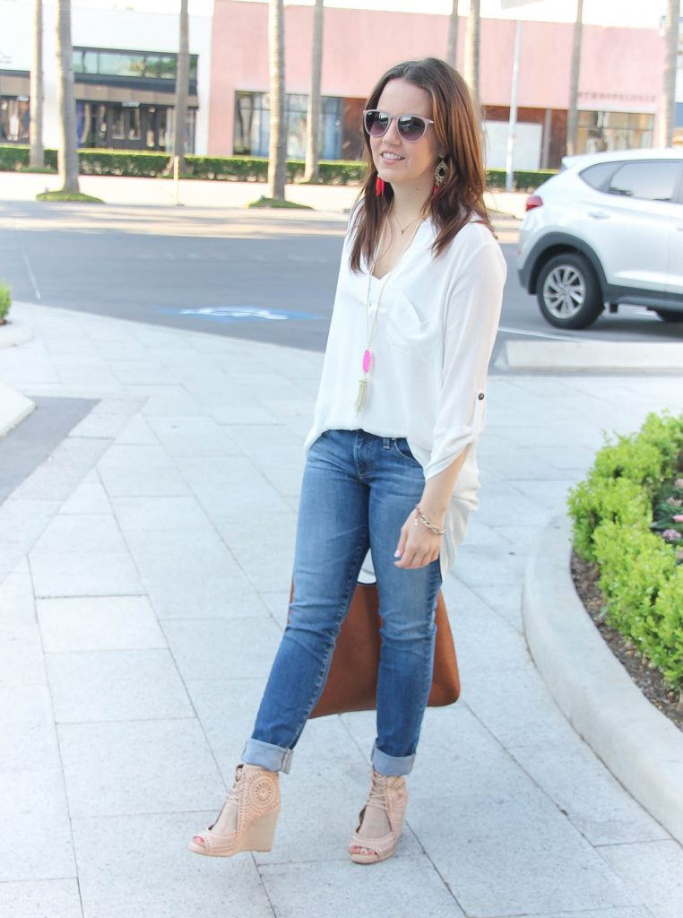Summer Wardrobe Staples | White Tunic | Jeans with Wedge Sandals | Lady in Violet | Houston Fashion Blogger