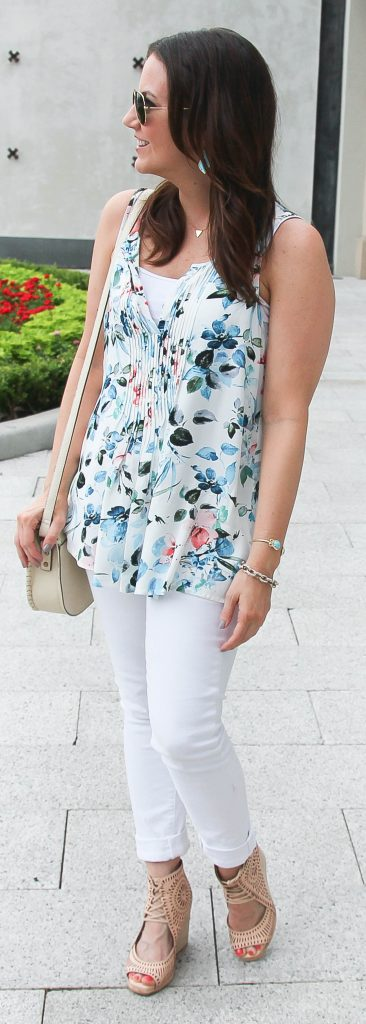 Casual Summer Outfit | Blue Floral Blouse | White Jeans | Neutral Wedge Sandals | Lady in Violet | Houston Fashion Blogger