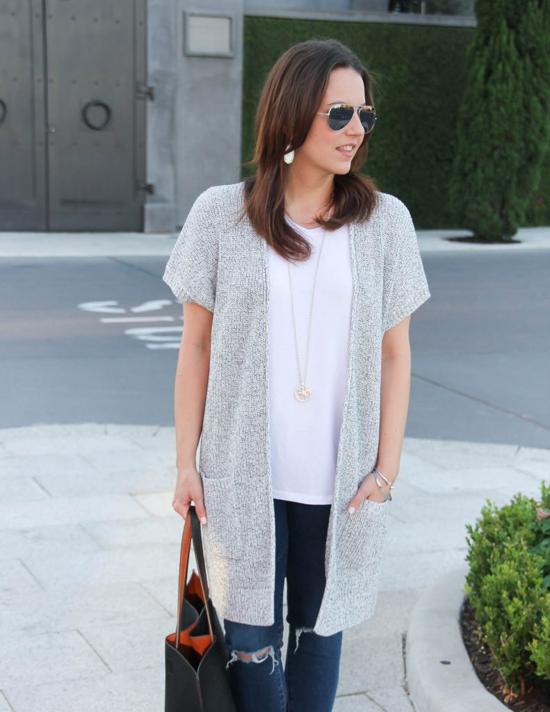Gray Short Sleeve Cardigan | White Tee | Kendra Scott Earrings | Lady in Violet | Houston Fashion Blogger