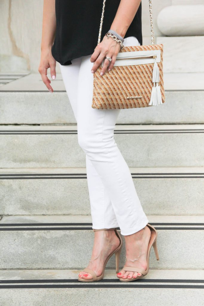 White Jeans | Steve Madden Stecy Sandals | Straw Clutch | Lady in Violet | Houston Style Blogger