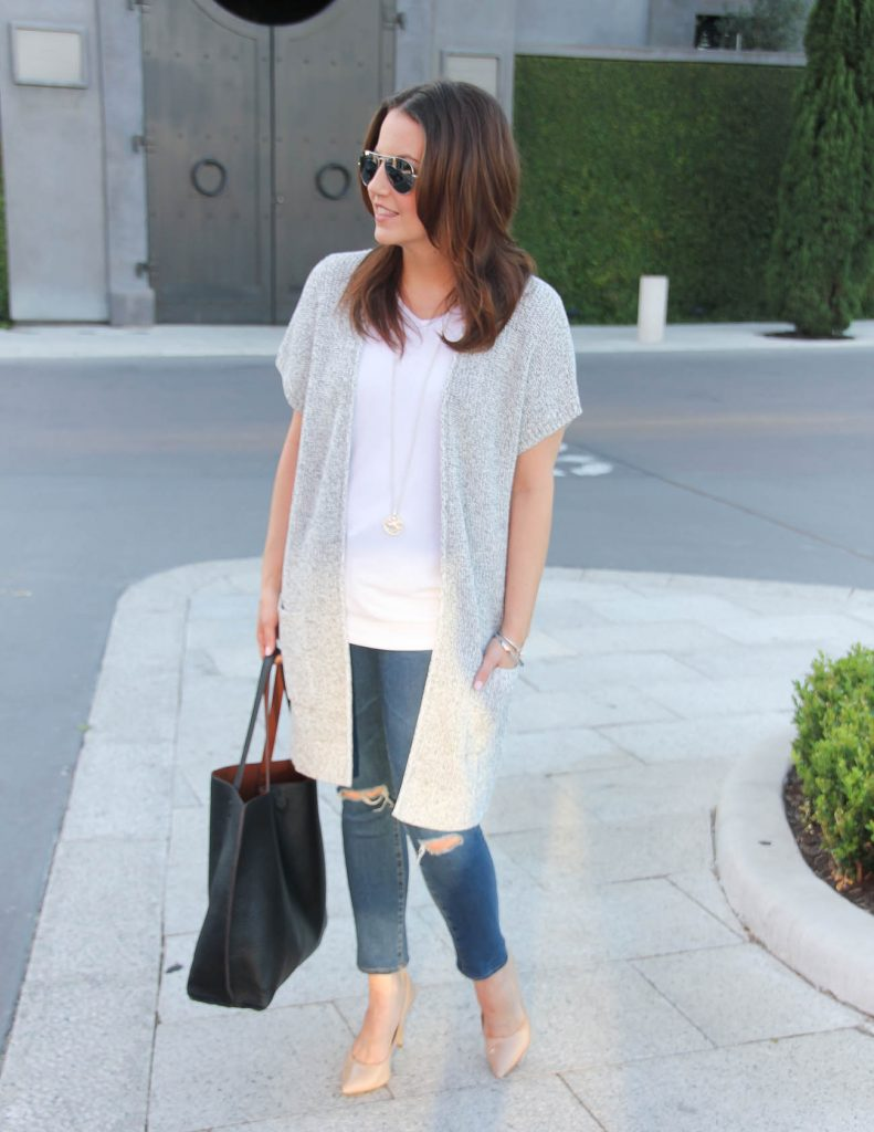 Casual Outfit | Short Sleeve Cardigan | Distressed Jeans | Lady in Violet | Houston Style Blogger