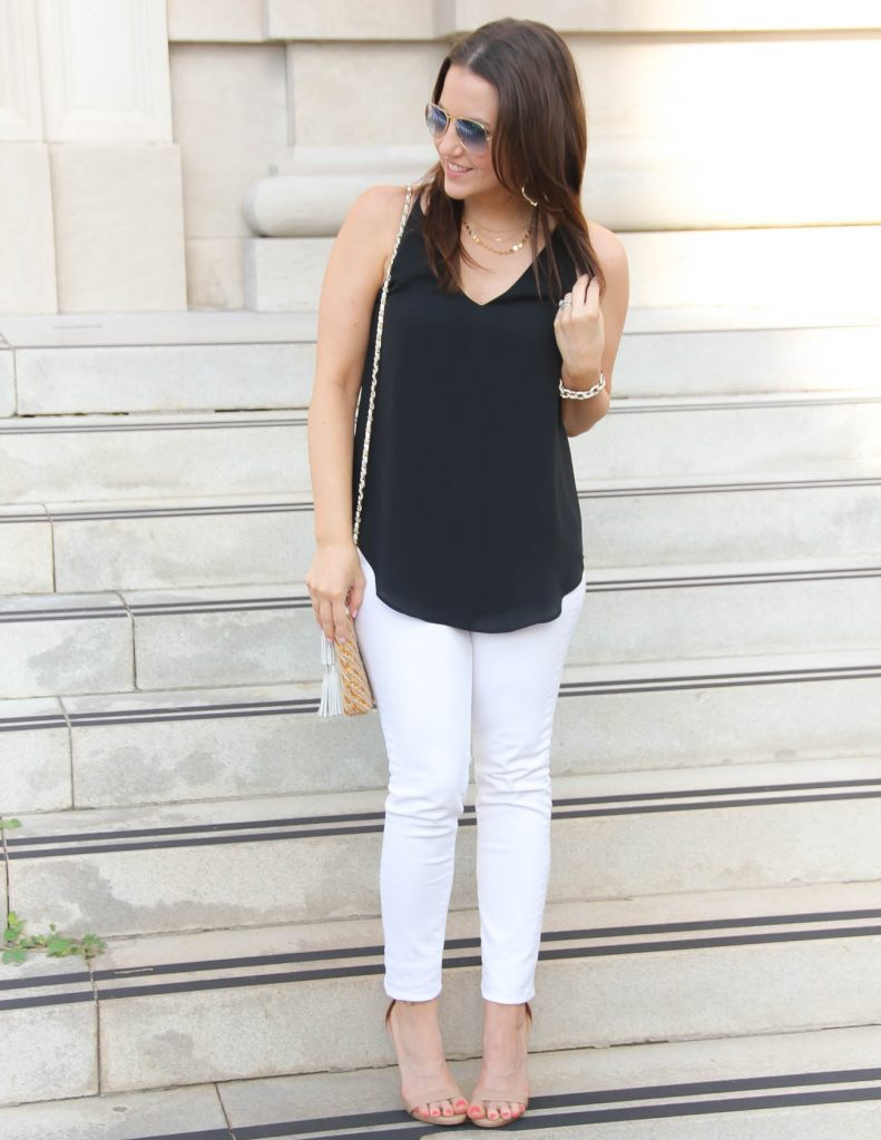 Summer Outfit for Date night | White jeans | Black cami | Lady in Violet | Houston Fashion Blogger