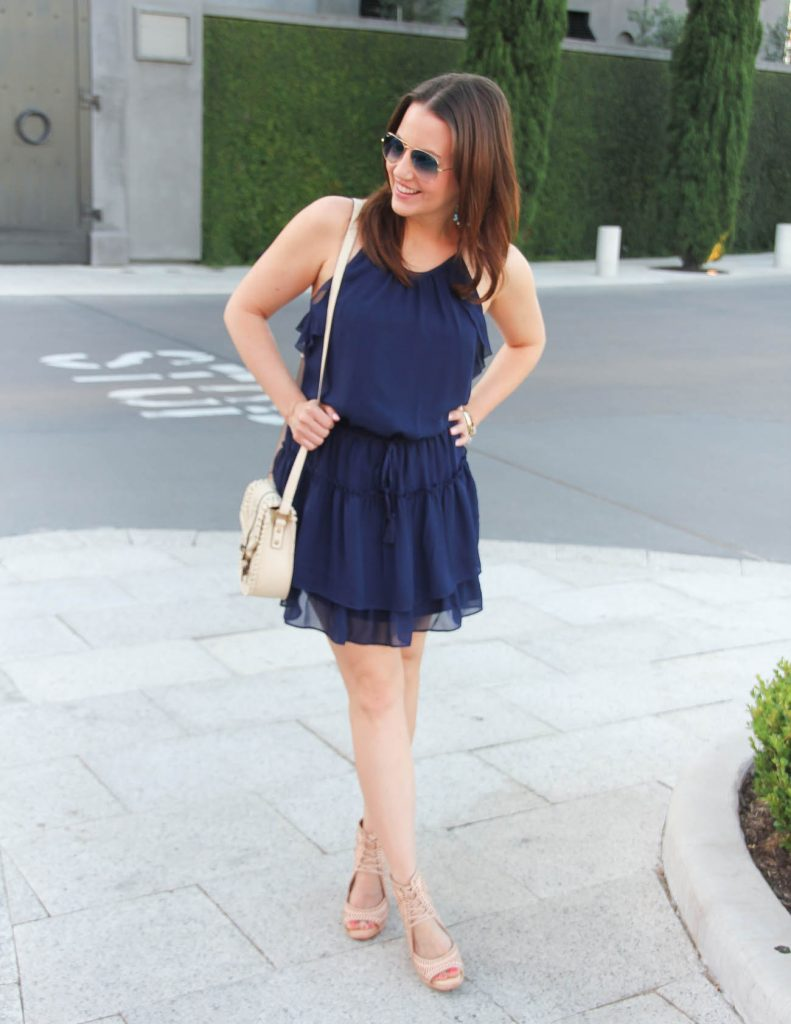 What to wear for 4th of July party | Navy Dress with Wedges | Lady in Violet | Houston Fashion Blogger