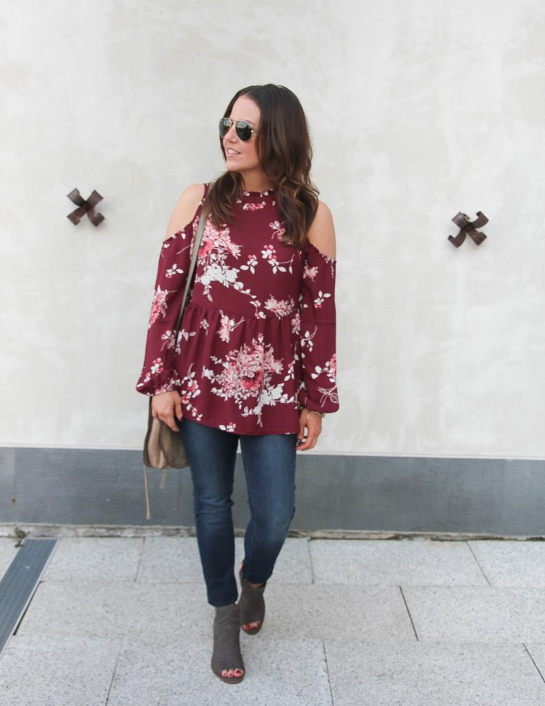 Fall Outfit | Floral Cold Shoulder Blouse | Blue Skinny Jeans | Lady in Violet | Houston Fashion Blogger