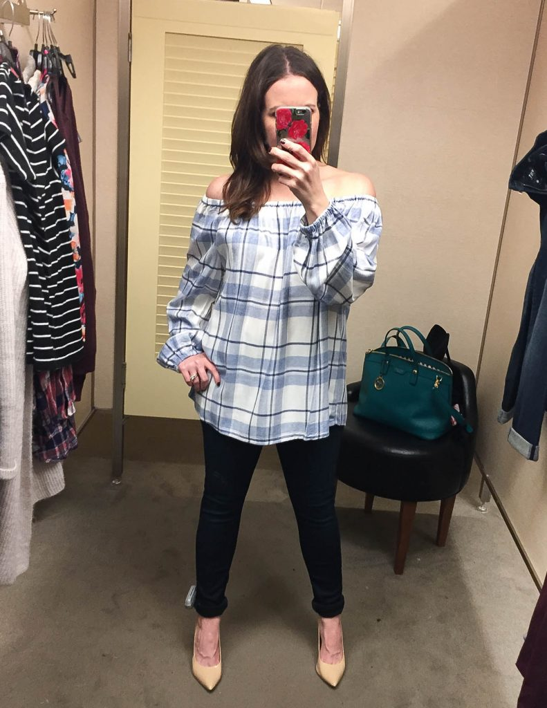 Fall Outfit | Plaid Off the Shoulder Top | Hudson Jeans | Lady in Violet | Houston Fashion Blogger