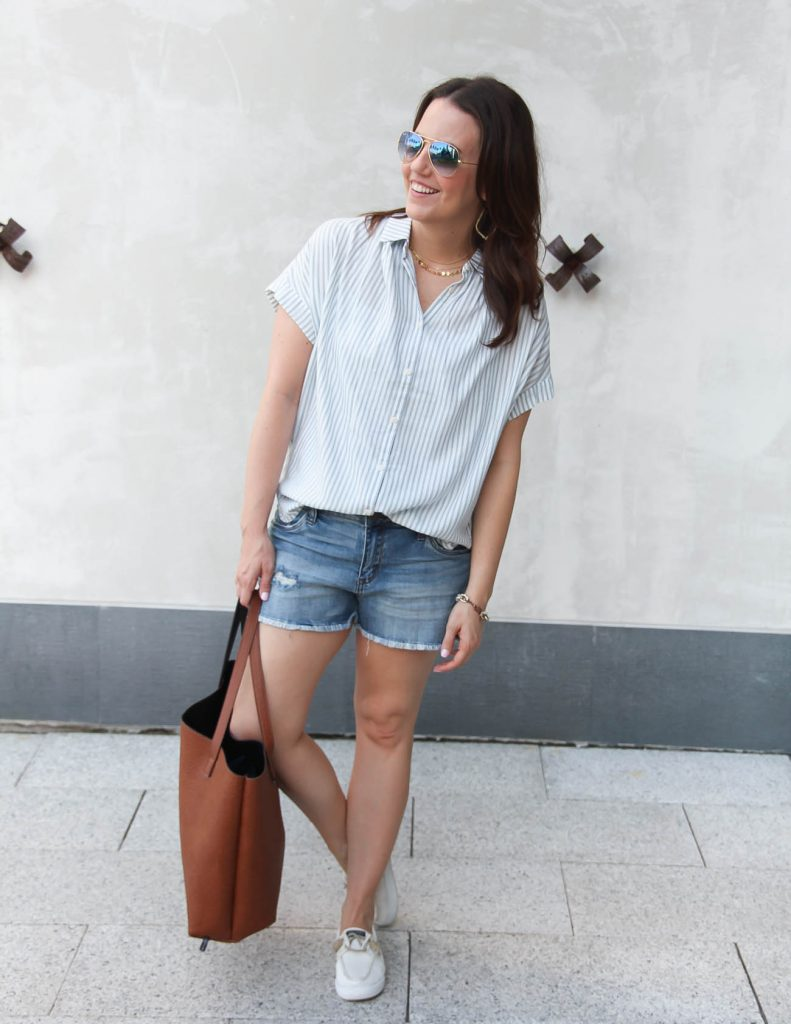 Summer Casual Outfit | Oversized Striped Blouse | Denim Shorts | Lady in Violet | Houston Style Blogger