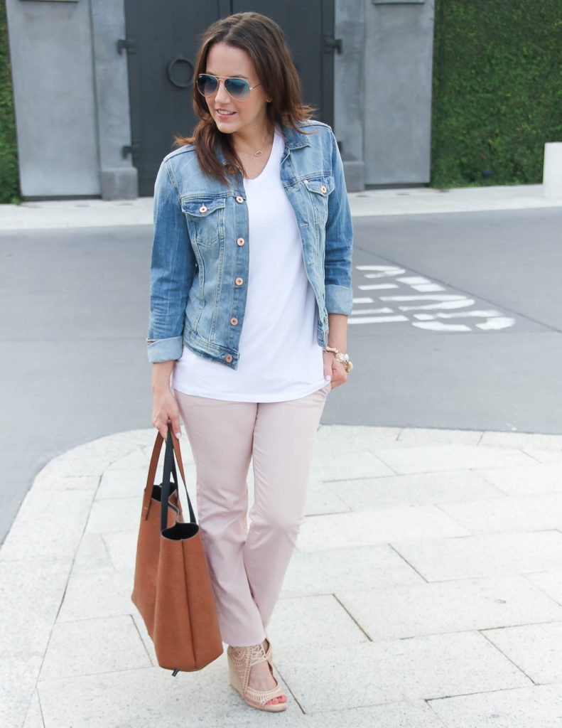 Summer Outfit | Denim Jacket | Pink Cotton Pants | Lady in Violet | Houston Fashion Blogger