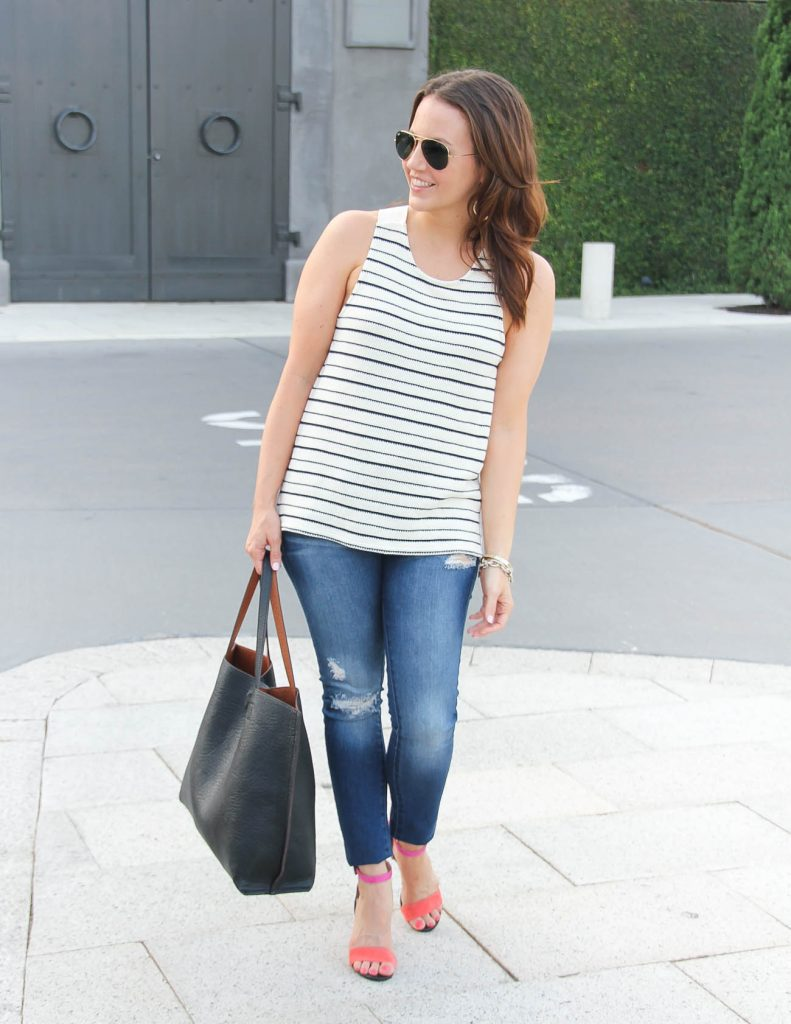 Summer Outfit | Striped Tank Top | Distressed Jeans | Lady in Violet | Houston Fashion Blogger
