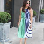 Green and Blue Striped Midi Dress