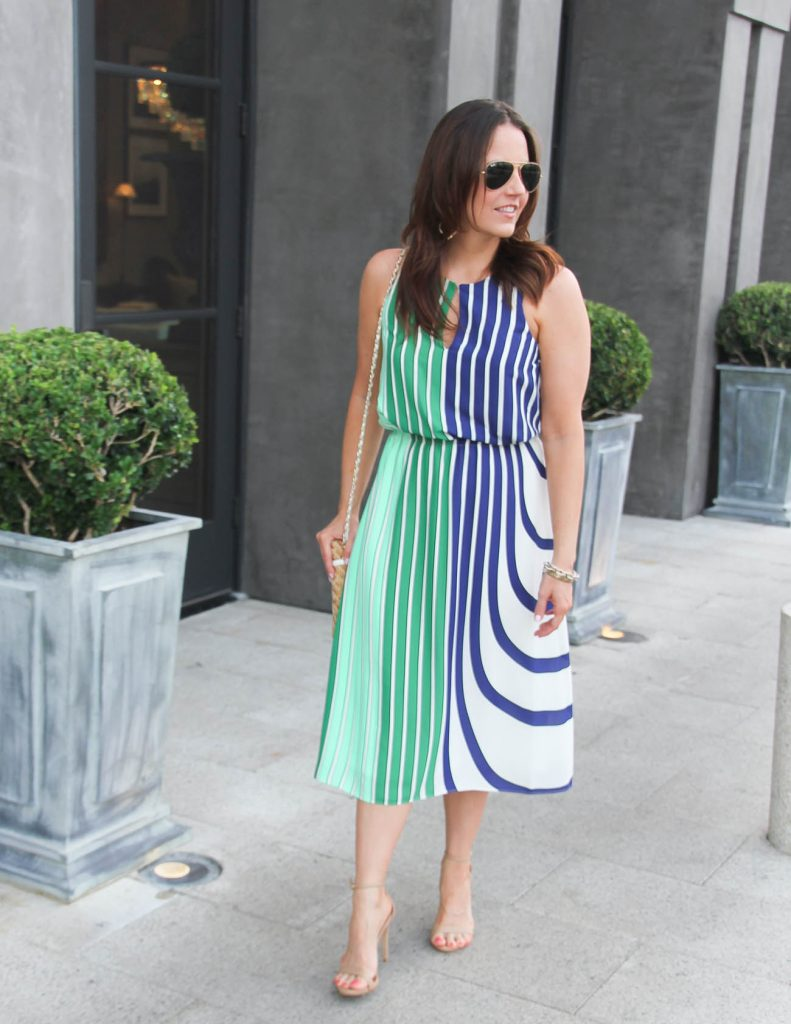 Summer Work Outfit | Striped Midi Dress | Lady in Violet | Houston Fashion Blogger