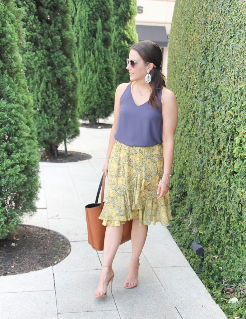 Summer Work Outfit | Yellow Ruffle Skirt | Purple Cami | Lady in Violet | Houston Fashion Blogger