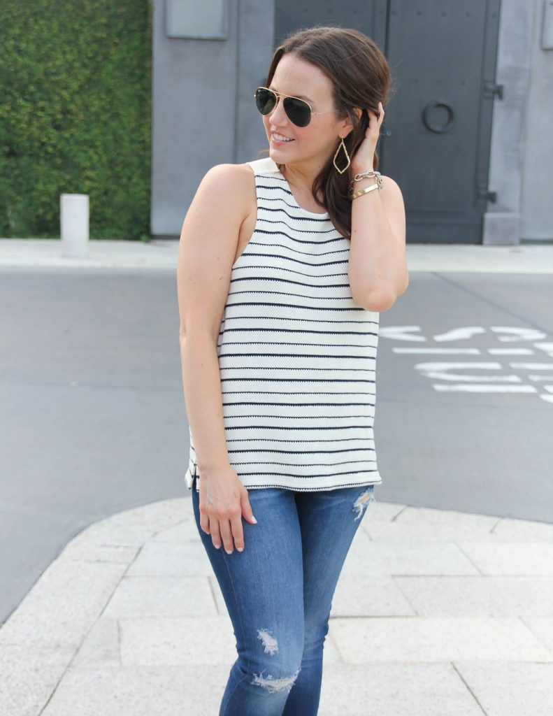 Casual Summer Outfit | Striped Sleeveless Top | Gold Drop Earrings | Lady in Violet | Houston Style Blogger