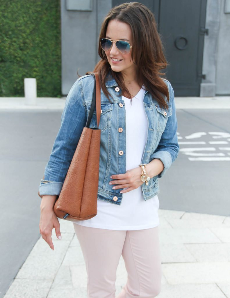 Spring Outfit | White Tshirt | Denim jacket | Lady in Violet | Houston Style Blogger