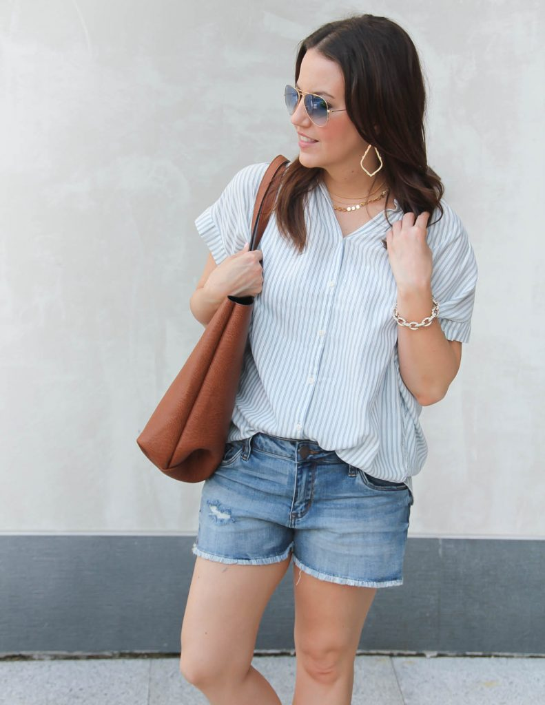 Summer Outfit | Blue Striped Blouse | Distressed Shorts | Lady in Violet | Houston Fashion Blogger