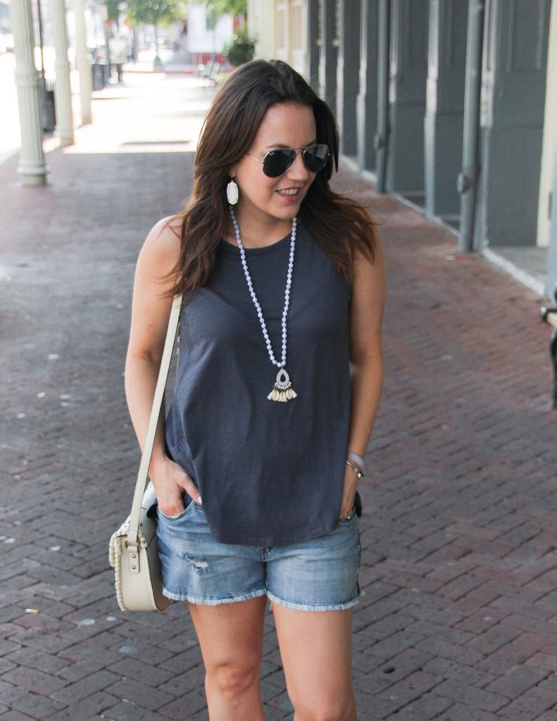 Summer outfit | gray Swing Tank top | distressed jean shorts | Lady in Violet | Houston Style Blogger