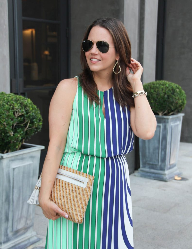 Summer Outfit | Straw Clutch with Tassel | Gold Drop Earrings | Lady in Violet | Houston Style Blogger