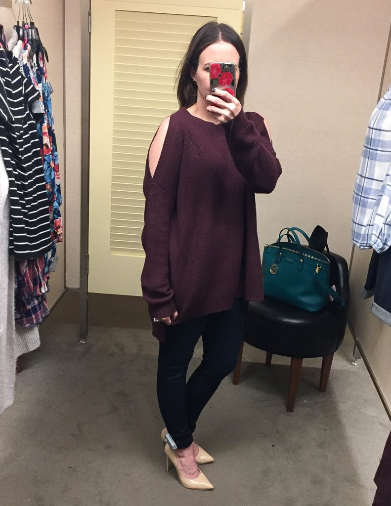 Winter Outfit | Burgundy Cold Shoulder Sweater | Dark Skinny Jeans | Lady in Violet | Nordstrom Anniversary Sale