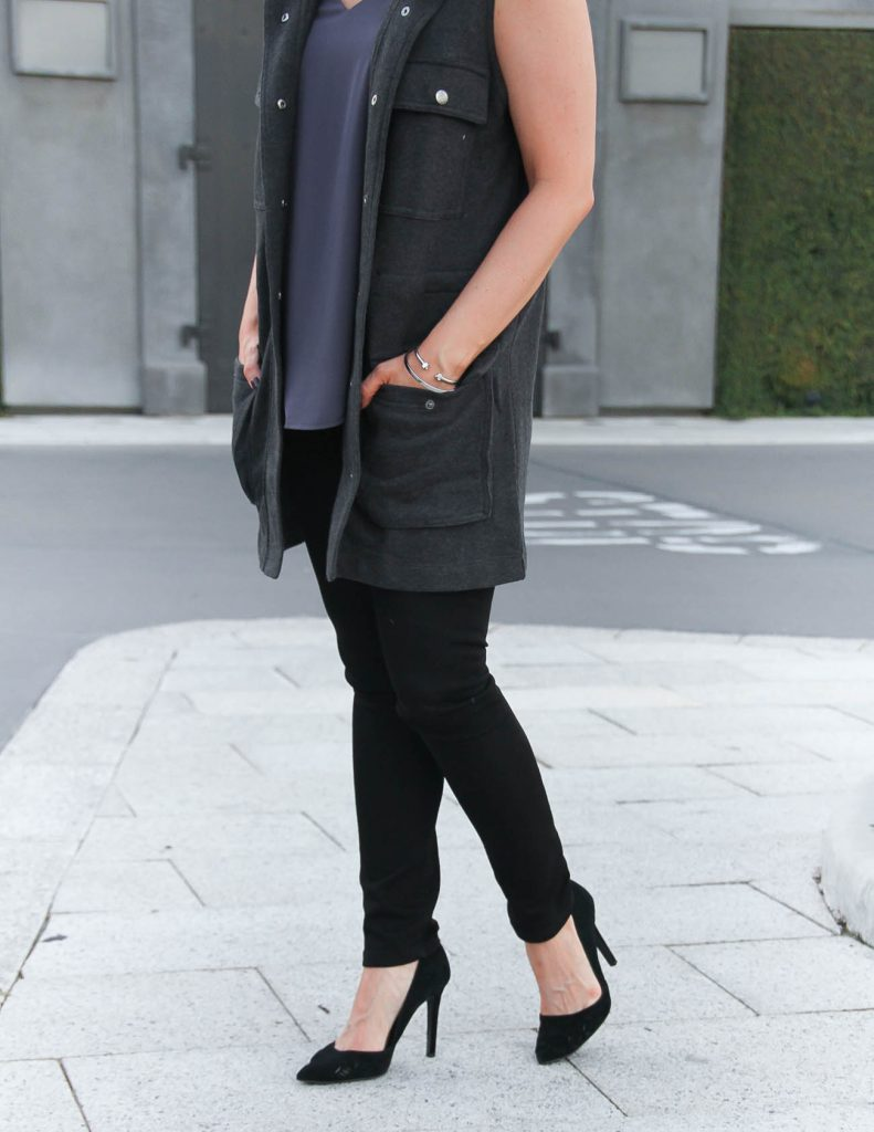Fall Casual Outfit   Black Skinny Jeans   Comfy Black Heels   Lady in Violet   Houston Fashion Blogger