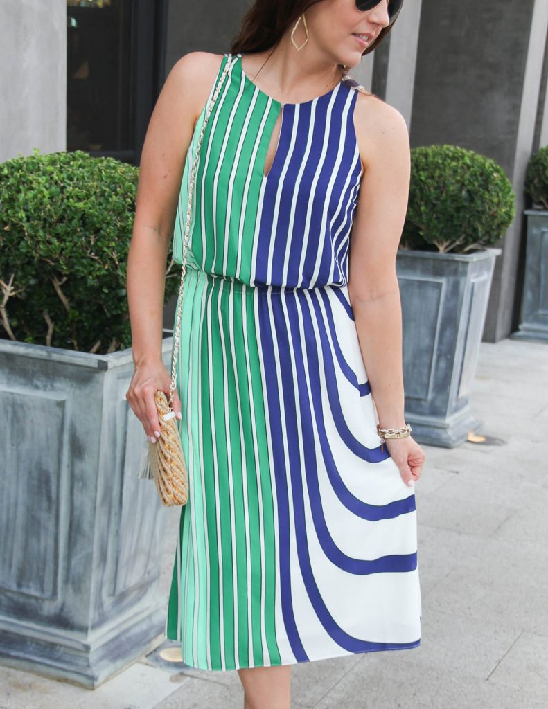 Green and Blue Striped Midi Dress | Summer Outfit | Lady in Violet | Houston Fashion Blogger