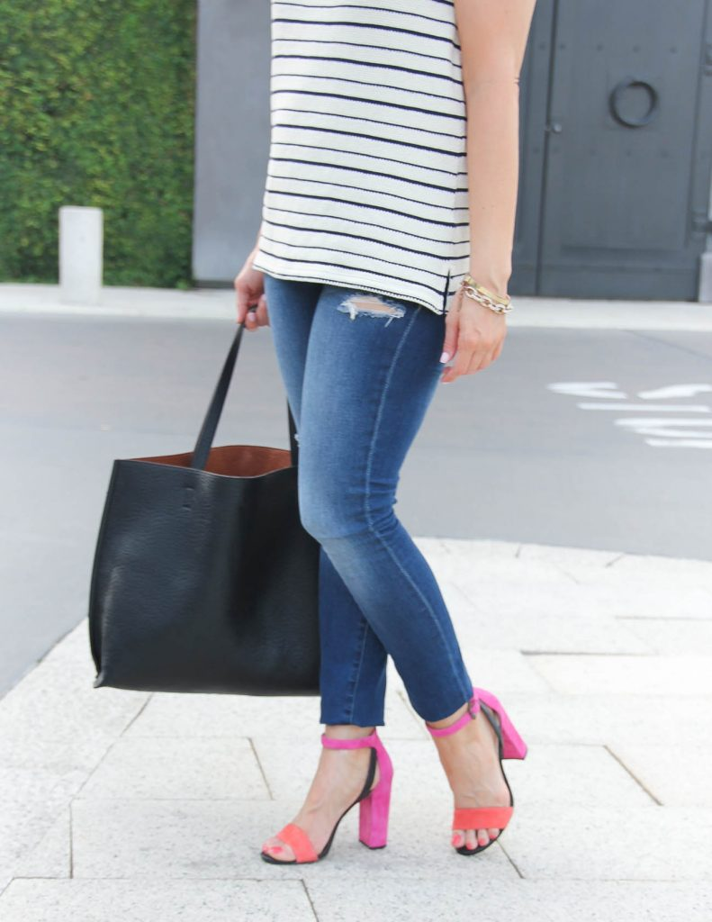 Summer Outfit | Distressed Jeans | Pink Block Heel Sandals | Lady in Violet | Houston Fashion Blogger