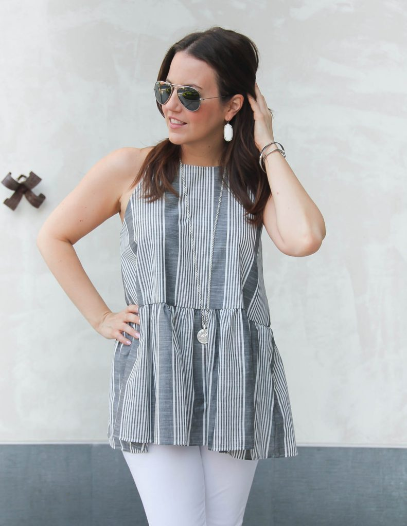 Summer Outfit | Gray Striped Halter Top | Long Silver Necklace | Lady in Violet | Houston Fashion Blogger