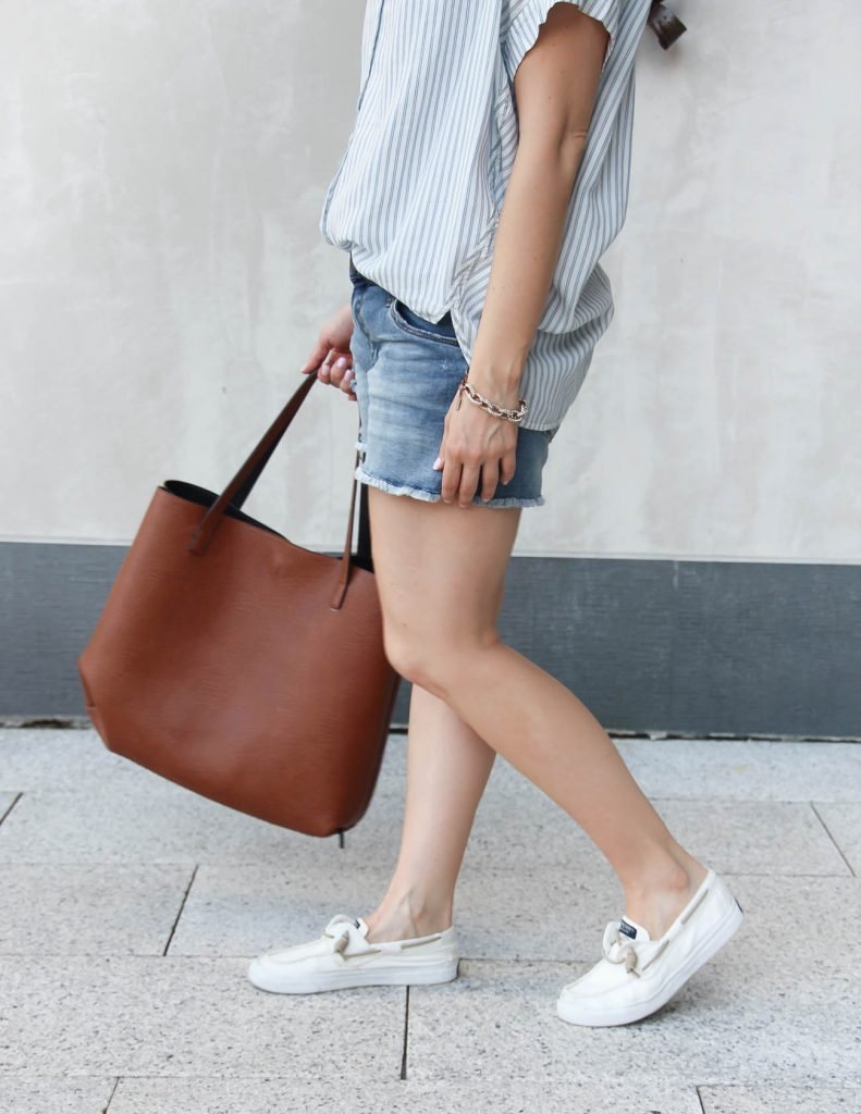 Summer Outfit | White Canvas Sneakers | Brown Tote Bag | Lady in Violet | Houston Fashion Blogger