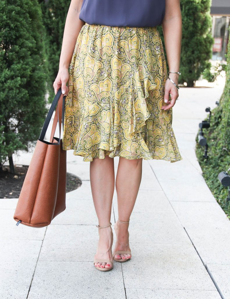 Summer Outfit | Yellow Ruffle Skirt | Brown Tote Bag | Lady in Violet | Houston Fashion Blogger