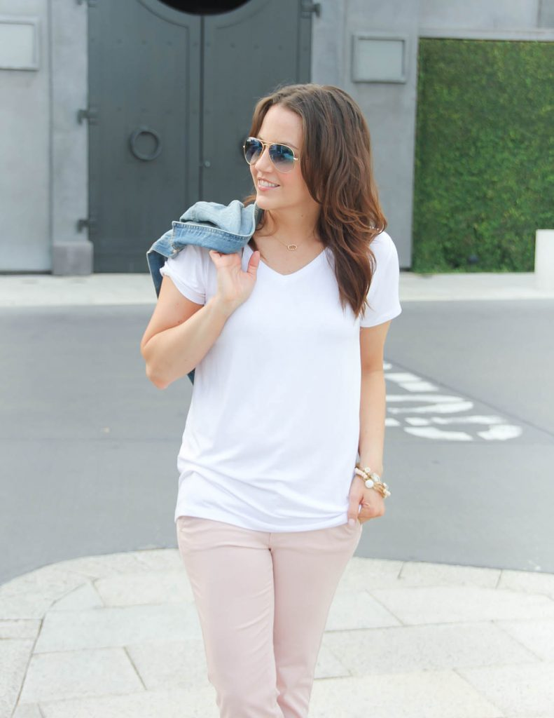 Affordable thick white tee | Rose Gold Necklace | Pink Pants | Lady in Violet | Houston Style Blogger