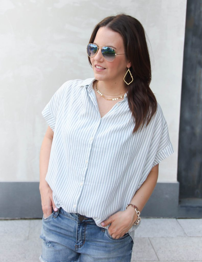 Blue Striped Blouse with Shorts | Baublebar Gold Choker Necklace | Summer Outfit | Lady in Violet | Houston Style Blogger