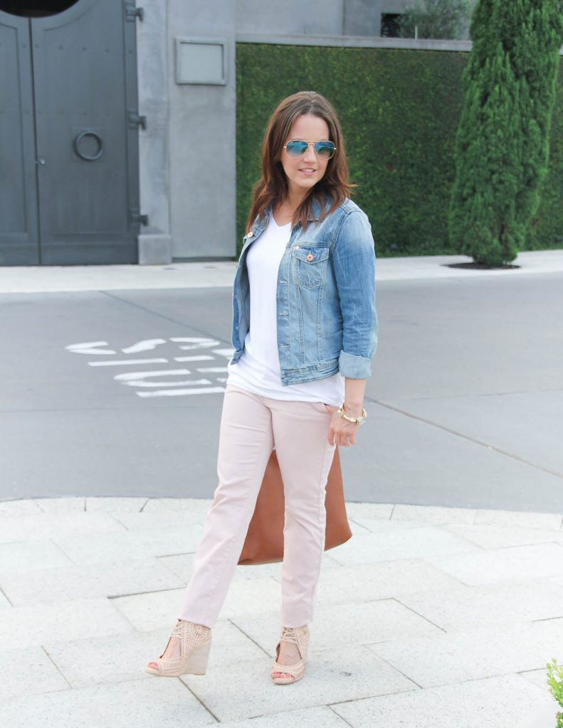 Casual Weekend Outfit | White Tee | Pink Pants | Lady in Violet | Houston Style Blogger