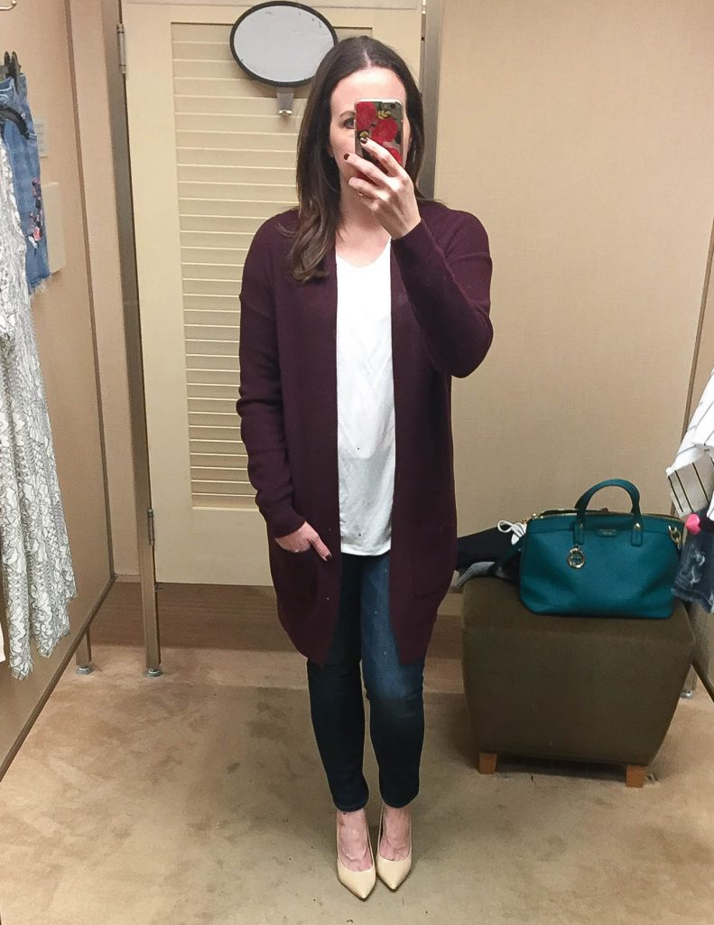 Fall Outfit | Maroon Long Cardigan | White Tee | Layered Outfit | Lady in Violet