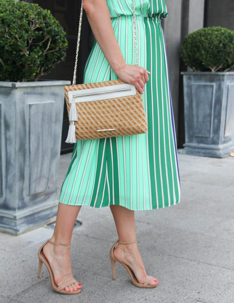 Summer Outfit | Striped Midi Dress | Nude Summer Sandals | Lady in Violet | Houston Fashion Blogger