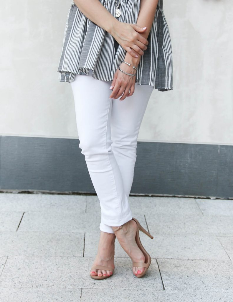 Summer Outfit | White Skinny Jeans | Neutral Heeled Sandals | Lady in Violet | Houston Style Blogger