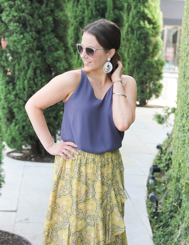 Summer Work Outfit | White Statement Earrings | Yellow Skirt | Lady in Violet | Houston Fashion Blogger